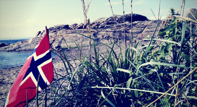 Beach in Norway with Flag